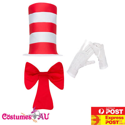 Child Stripe Cat in the Hat Costume Dr Seuss Bow Tie Gloves Boys kids Book Week