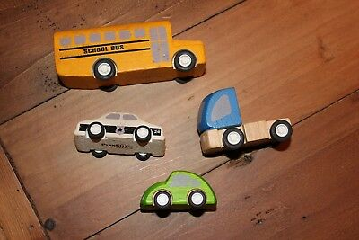 Plan Toys City Bus, Police Car, Bug Car, Truck Wooden Toys 4 Total