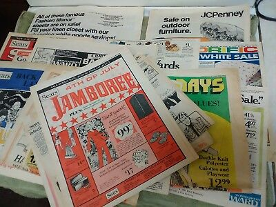 Vintage 70s, 80s,  Advertising Flyer Inserts Sears, Wards, Woolco, etc