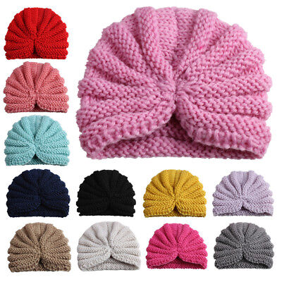 Winter Solid Color Baby Beanie Cap Pleated Elastic Knitted Turban Hat Rakish
