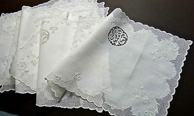 """6 Appenzell Embroidery Linen Placemats, """"SRF"""" Monogram Buratto & Floral Antique"""