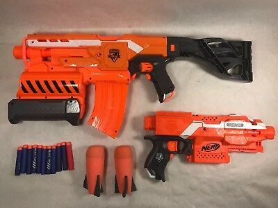 Nerf Gun Lot N-Strike Elite Stryfe + Demolisher 13 Darts Stock Clip Magazine Mod