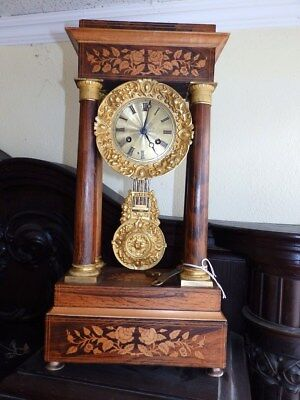 Nice Original Old French Mantel Clock With 4 Columns And Inlay