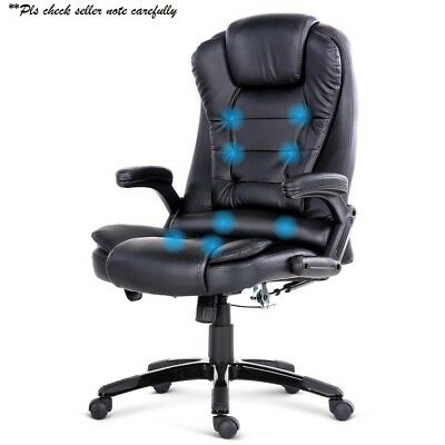 8 Point Massage Executive Office Computer Chair Heated Recliner PU Leather BLACK