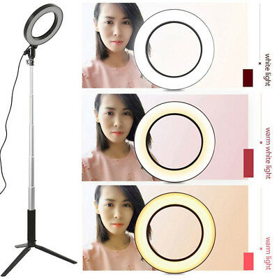 LED 3 Modes Dimmable Studio Camera Ring Light Photo Phone Video Lamp Black 16cm