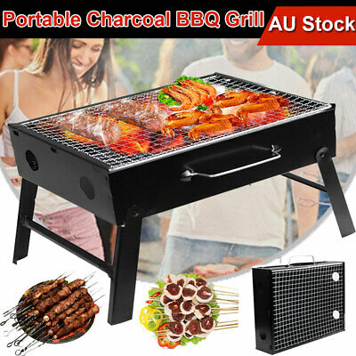 Portable & Foldable Charcoal BBQ Grill Mini Outdoor Camping Barbecue Hibachi NEW