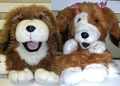 Pair of cuddly plush dog hand puppets (boy and girl) - New with Tags - UK seller