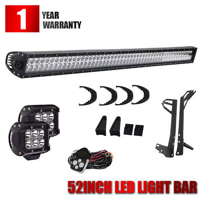 Straight 52Inch 300W Led Light Bar Combo+4In Pods Offroad For 4Wd Truck Atv Suv
