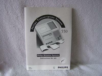 Philips 550 transcription dictation system mini cassette instruction manual book