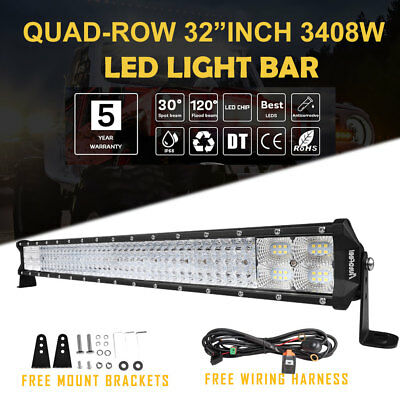 "Autofeel 32INCH LED Light Bar 3408W VS CURVED 30 ""Offroad Flood Spot Combo Beam"