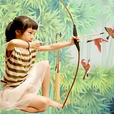 WOODEN BOW AND ARROW w QUIVER set 3 PACK ARROWS wood youth archery hunting toy Y