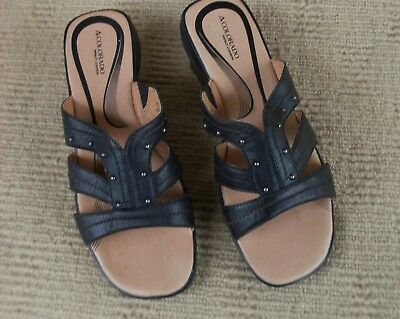 Excellent New Colorado Black Leather Slip On Sandals, Size 9