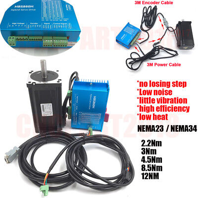 NEMA34/23 Closed Loop Stepper Motor+Drive Kit Hybrid Servo 12Nm 8.5Nm 4.5Nm 3Nm