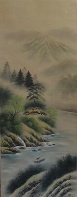 Japanese Hanging scroll / Landscape Design / KAKEJIKU / Silk / Antique / 92h
