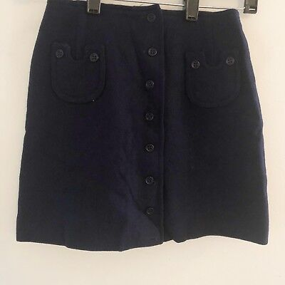 Vintage Bobbie Brown Girls Skirt Navy Blue Wool Button Front Size 5