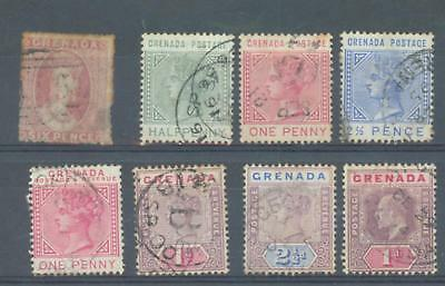 Grenada 1863-1902 sg.6 (fault at right). sg.30-2, 40, 49, 51, 58 used