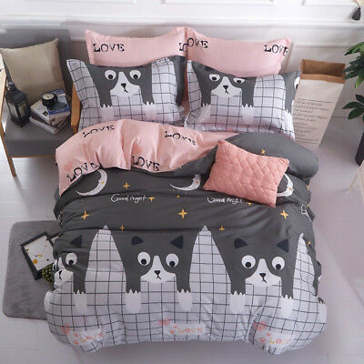 Cartoon Cat Duvet Cover with Pillow Case Quilt Cover Double King Bedding Set
