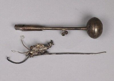 Late 19th Century Chinese Silver Articulated Fish Hairpin and Baby's Rattle