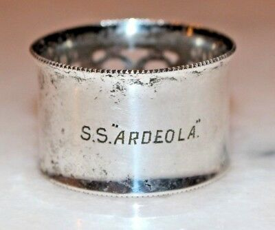 "Collectable Silver Plated Napkin Ring From ""S.S Ardeola"" c1912"