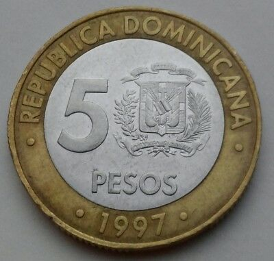Dominicana Republic 5 Pesos 1997 . Bimetallic coin.