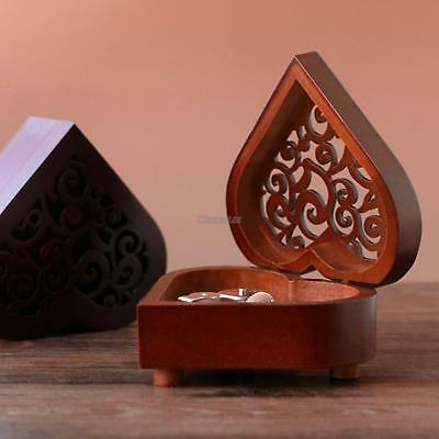 Heart Shaped Retro Wood Engraving Musical Box Wind Up Theme Song Music Box OK
