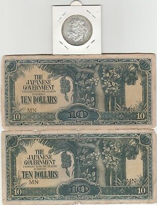 Germany 1972 Olympic 10 Marks Silver + 15 x Japanese Government Malaya 10 Dollar