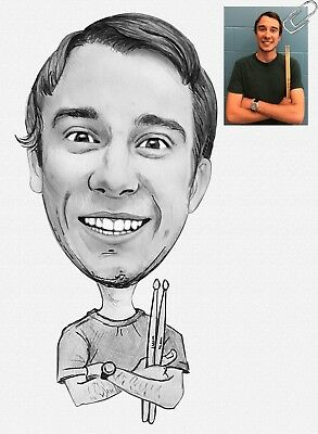 Drummer Pencil Caricature Gift for Musician from Your Photos