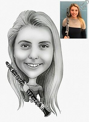 Сlarinet Pencil Caricature Gift for Musician from Your Photos
