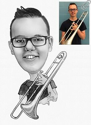 Trombone Pencil Caricature Gift for Musician from Your Photos