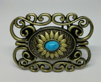 Cowgirl Fancy Turquoise Western Belt Buckle Bronze Metal Rodeo Outback BNS Oval
