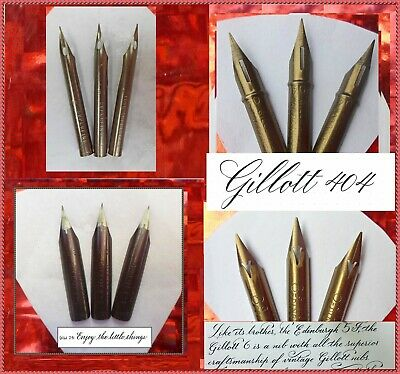 3 vintage Gillott's nibs: no.6 M, no.170, no. 404, and no.850