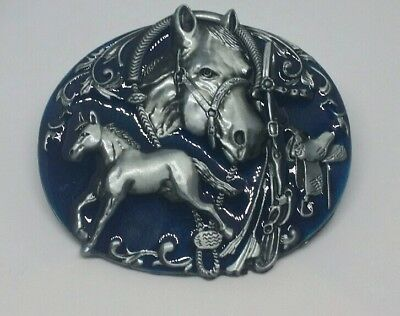 Horse blue Western Belt Buckle Metal Rodeo BNS Oval Cowgirl Cowboy