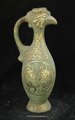 Certified Chinese  Ancient Bronze Ware Fung wine glass pot Statue sculpture