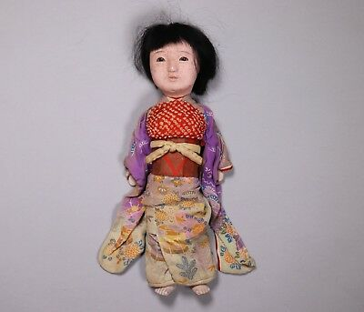 Early 20th Century Japanese Painted Wood Geisha Doll in Silk Kimono