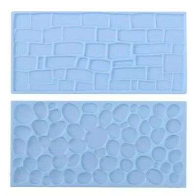 2x COBBLE STONE WALL MOULD-ICING IMPRESSION MAT-CHOCOLATE MOLD-CAKE/CASTLE COBLE