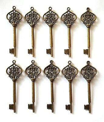 10 Metal Keys-Ornate/decorative-Craft-70X22Mm-Vtg-Antique Bronze-Old-Pendants