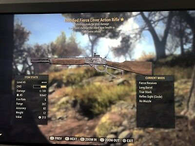 Fallout 76 (PS4) Bloodied Explosive Lever Action Rifle + 15,000 Bullets