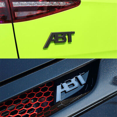ABT Cromo/Nero Logo Badge Griglie Anteriori Emblemi Decalcomani Per Audi VW Golf