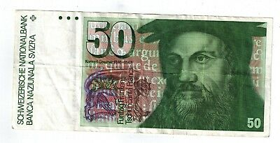 Swiss 50 Franc Bill, Circulated, Not Current But Redeemable Until April 30, 2020