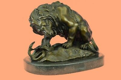 Genuine Bronze Sculpture Lion and Snake Serpent Statue Home Office Decoration