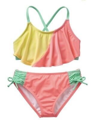 NWT Gymboree Girl Swim Shop Coral Colorblock 2-Piece Swimsuit 5 6 7 8 10 12 14