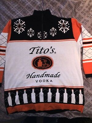 Tito's Vodka Ugly Sweater Holiday 1/4 Zip Cotton Size XXL Brand New Fast Ship