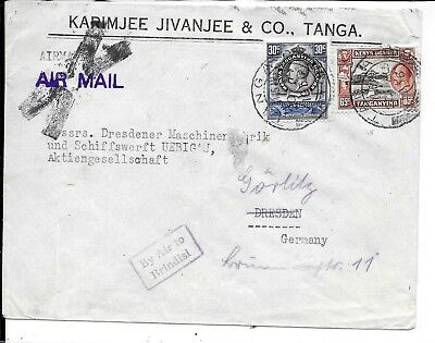 Kenya 1936 Cancelled Airmail Cover To Germany