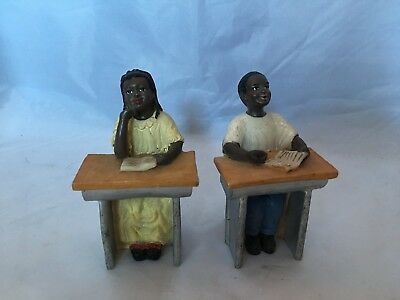 miniature figurines african american children reading at desk pair