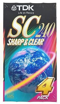 TDK SC 240 Sharp & Clear 4 Pack Blank VHS Cassette Tapes New And Sealed