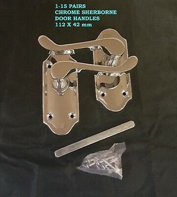 1-15 Packs Sherborne Chrome Interior Door Handles FREE DELIVERY 112 X 42mm D3