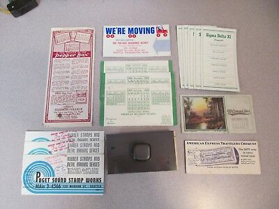 Lot of Vintage Advertising Ink Blotters and Rocking Wood Blotter