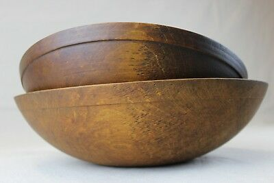"""Antique Nesting Pair Maple Turned Wooden Dough Bowls Properly Oval 15-1/4"""" & 13"""""""