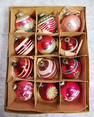 Vintage Christmas Tree Ornaments Shiny Brite Glass Stenciled Indent Pink Red