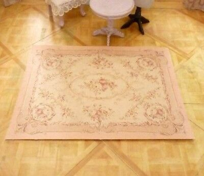 OOAK NEW Miniature Dollhouse 1:12 Gorgeous Shabby Chic Rose Flower Victorian Rug